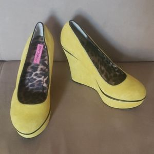 Betsey Johnson Neon Suede Platforms